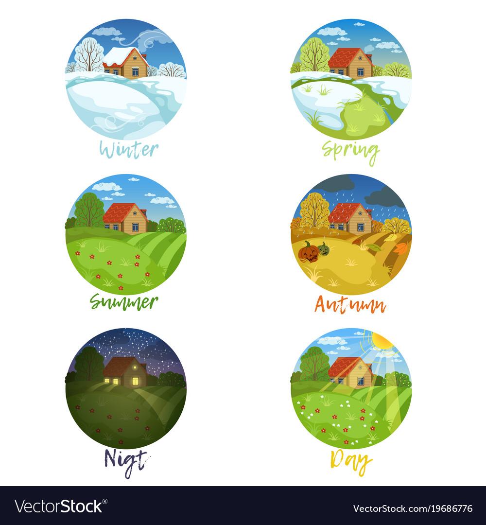 Four seasons landscapes with inscription set