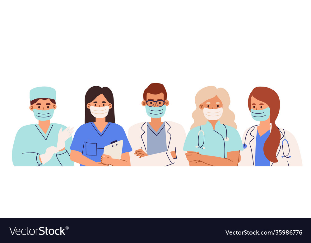 Group doctors and nurses in coats and face