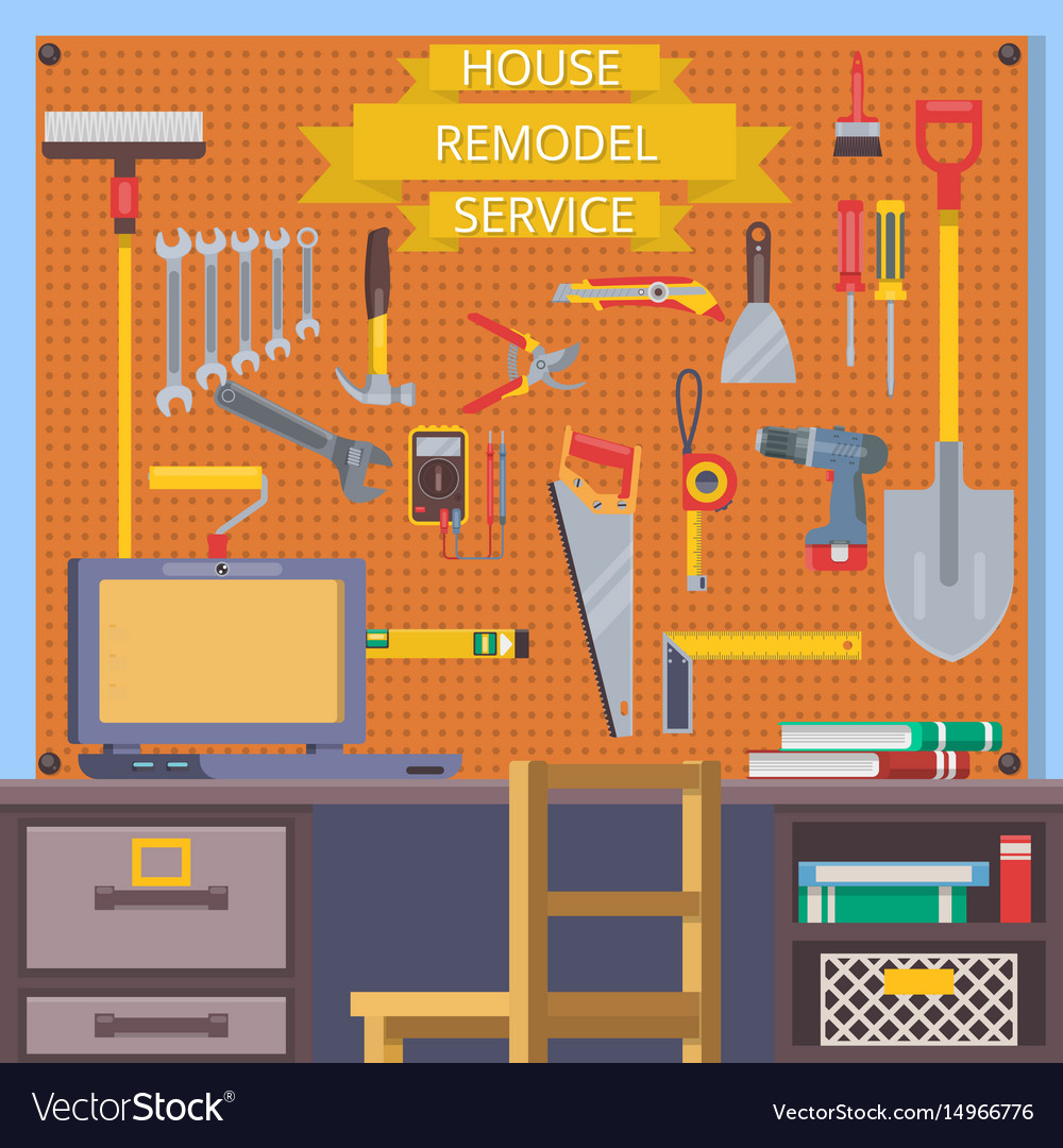 House remodel tools construction concept with