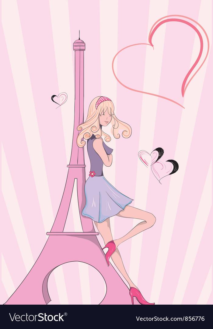 Paris doodles with lady vector image