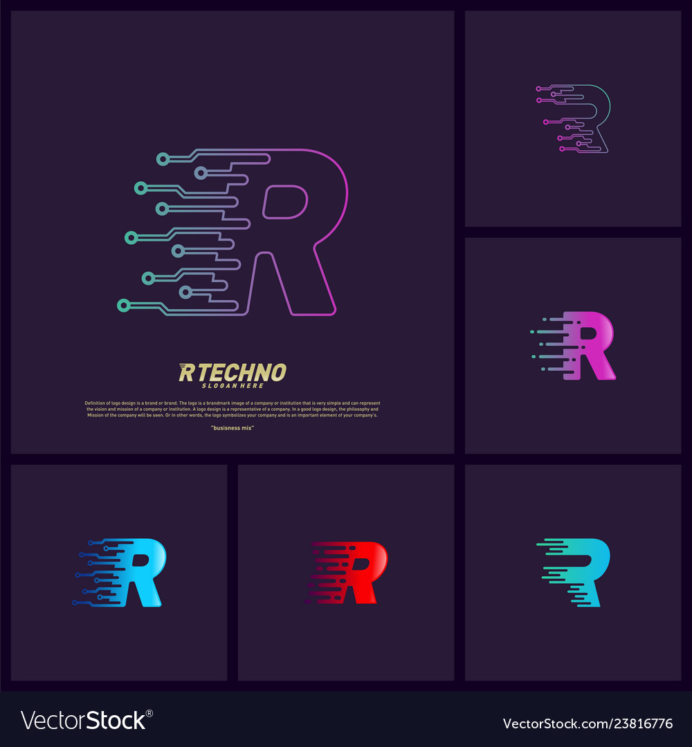 Set of letter r digital logo design concept