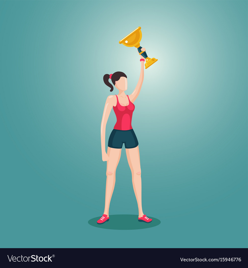 Sport girl holding award winner cup woman with vector image