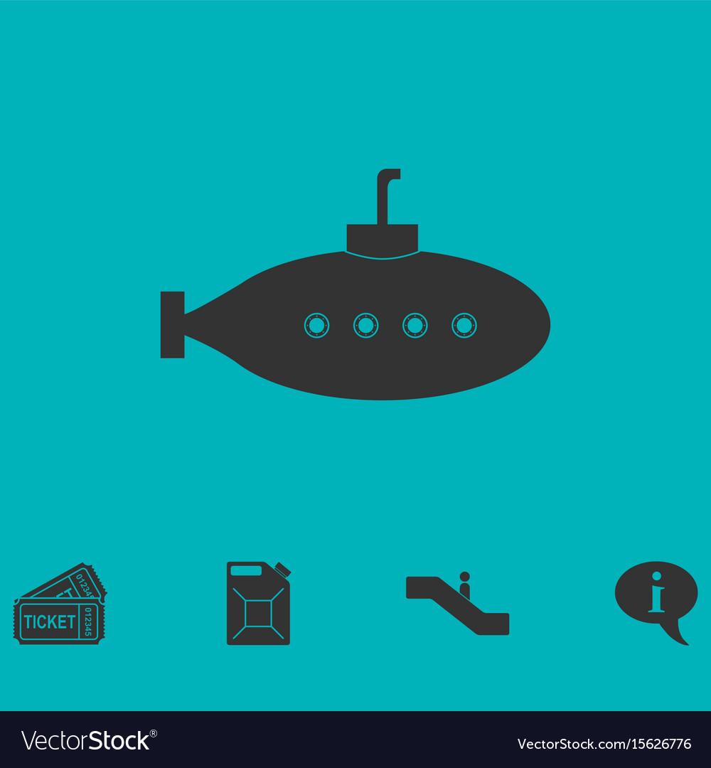 Submarine with periscope icon flat