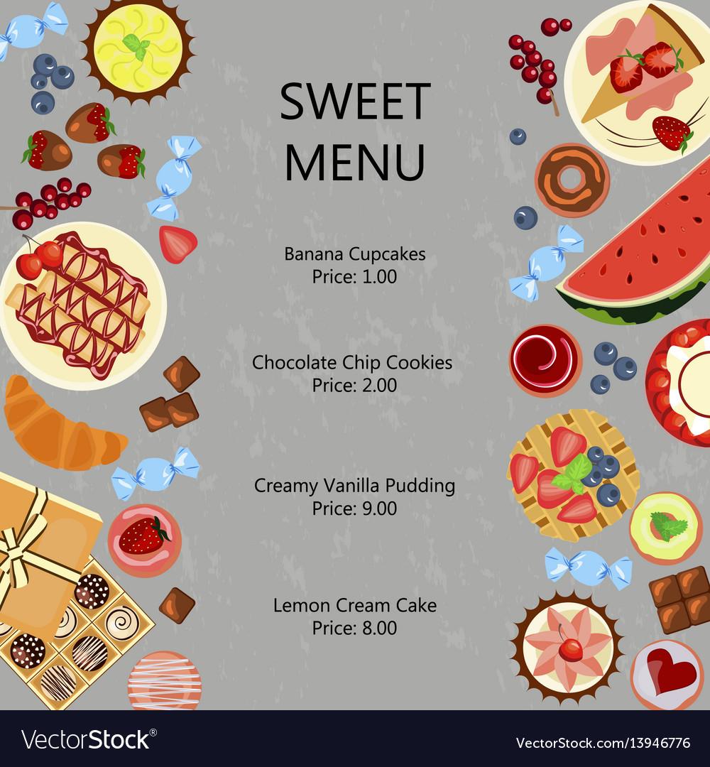 Sweet restaurant menu template Royalty Free Vector Image
