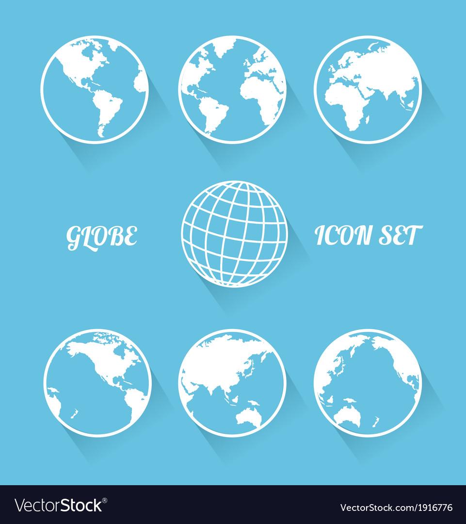 Vecrot globe icon set Modern flat style
