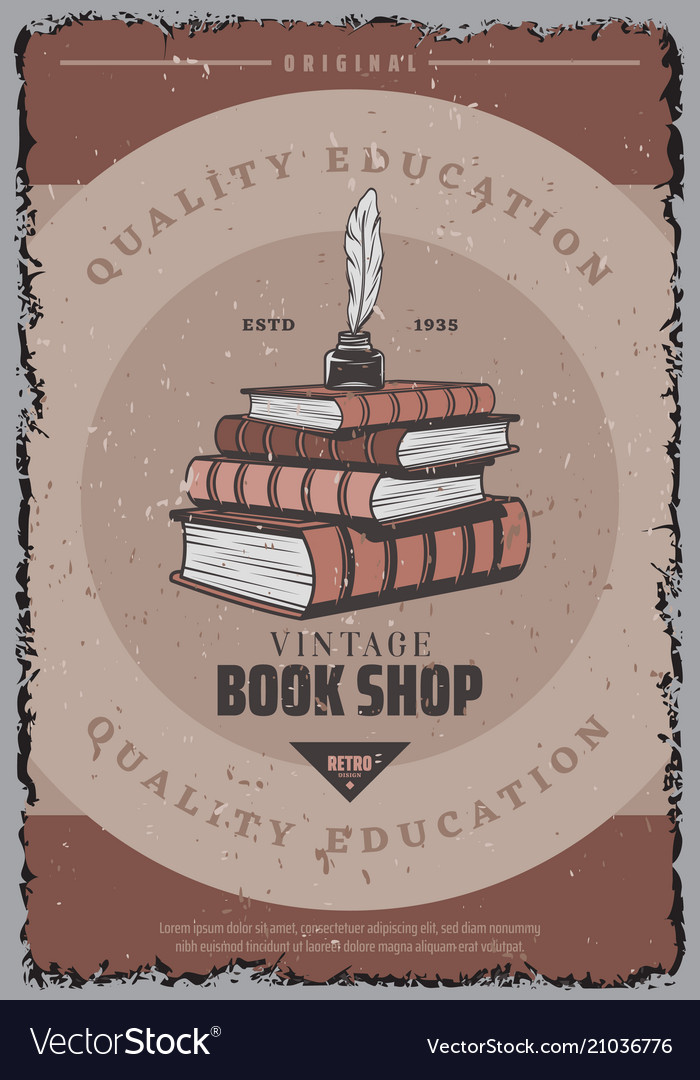 Vintage colored book store poster
