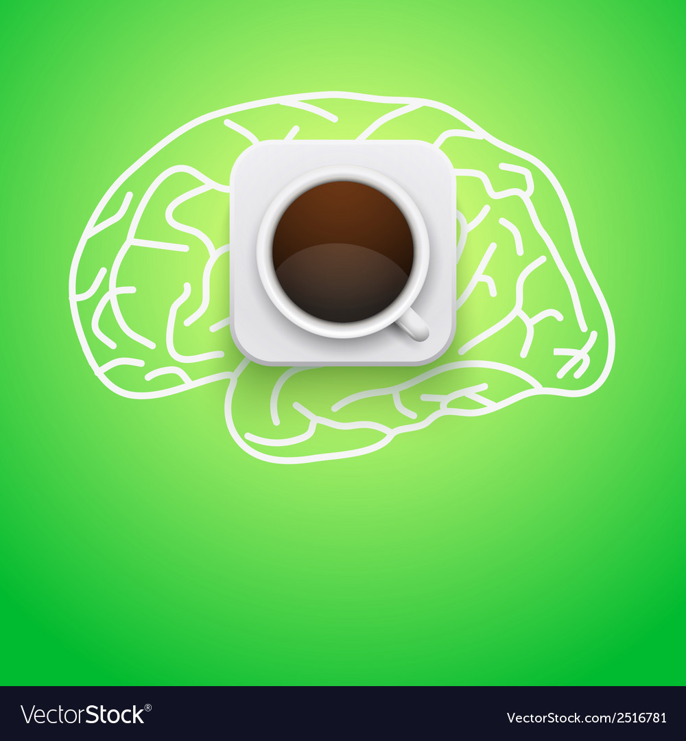 Background of cup coffee and brain