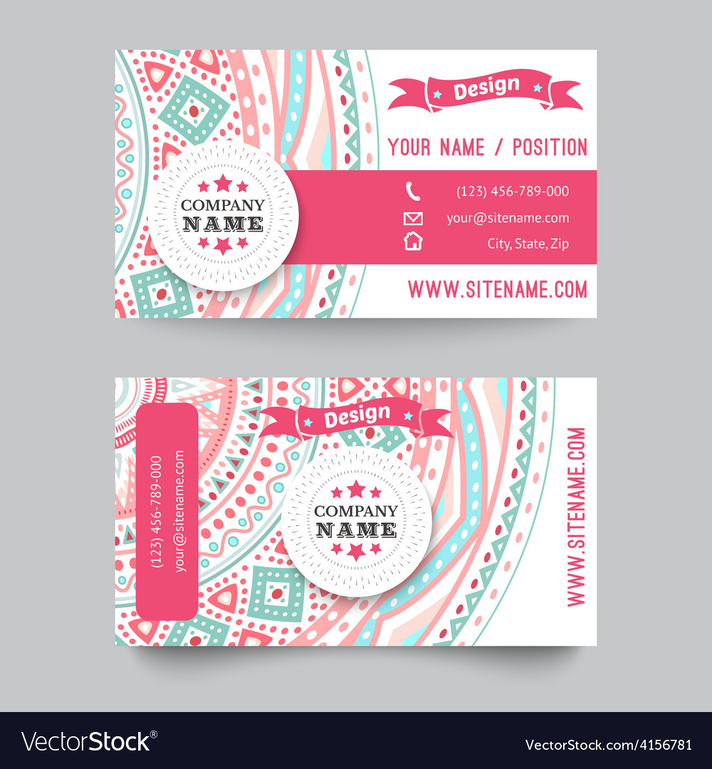 Business card template blue white and pink vector image fbccfo Images