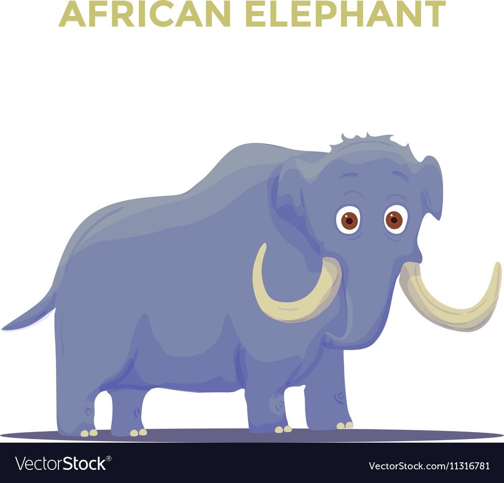 Cartoon African Elephant on White background