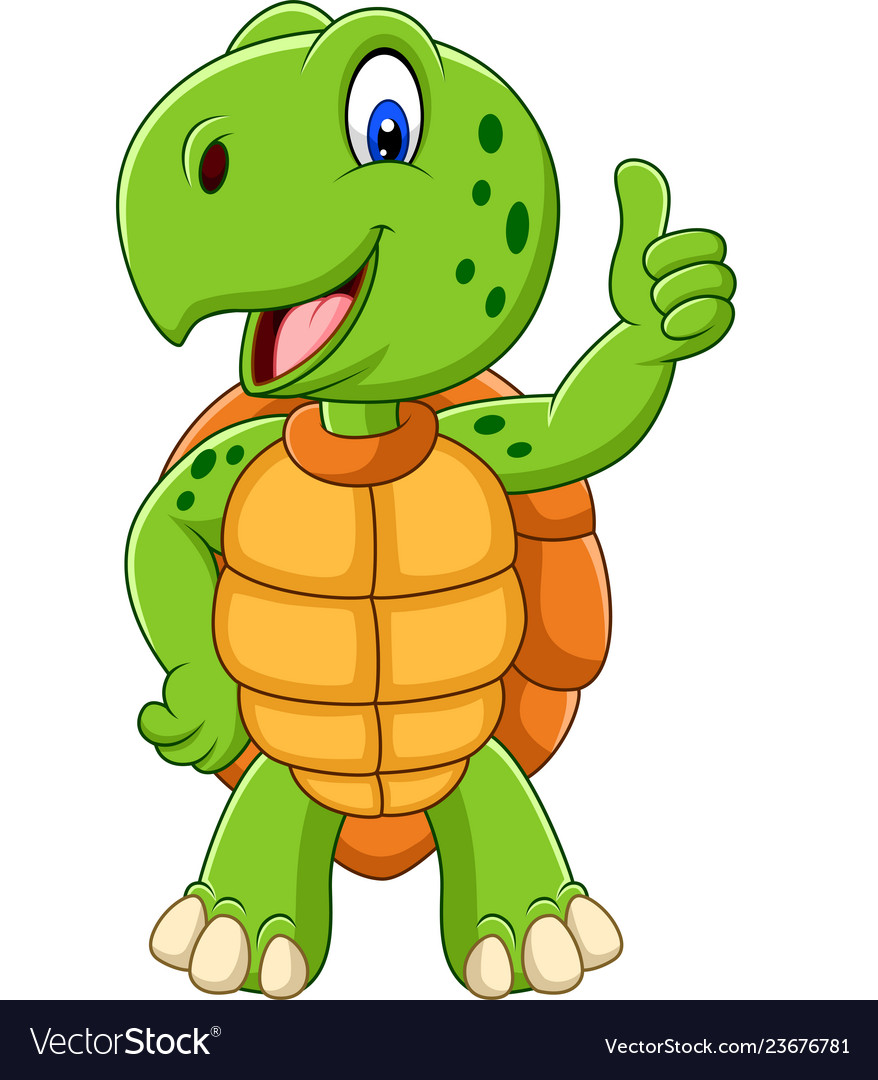 Cartoon Turtle Giving A Thumb Up Royalty Free Vector Image