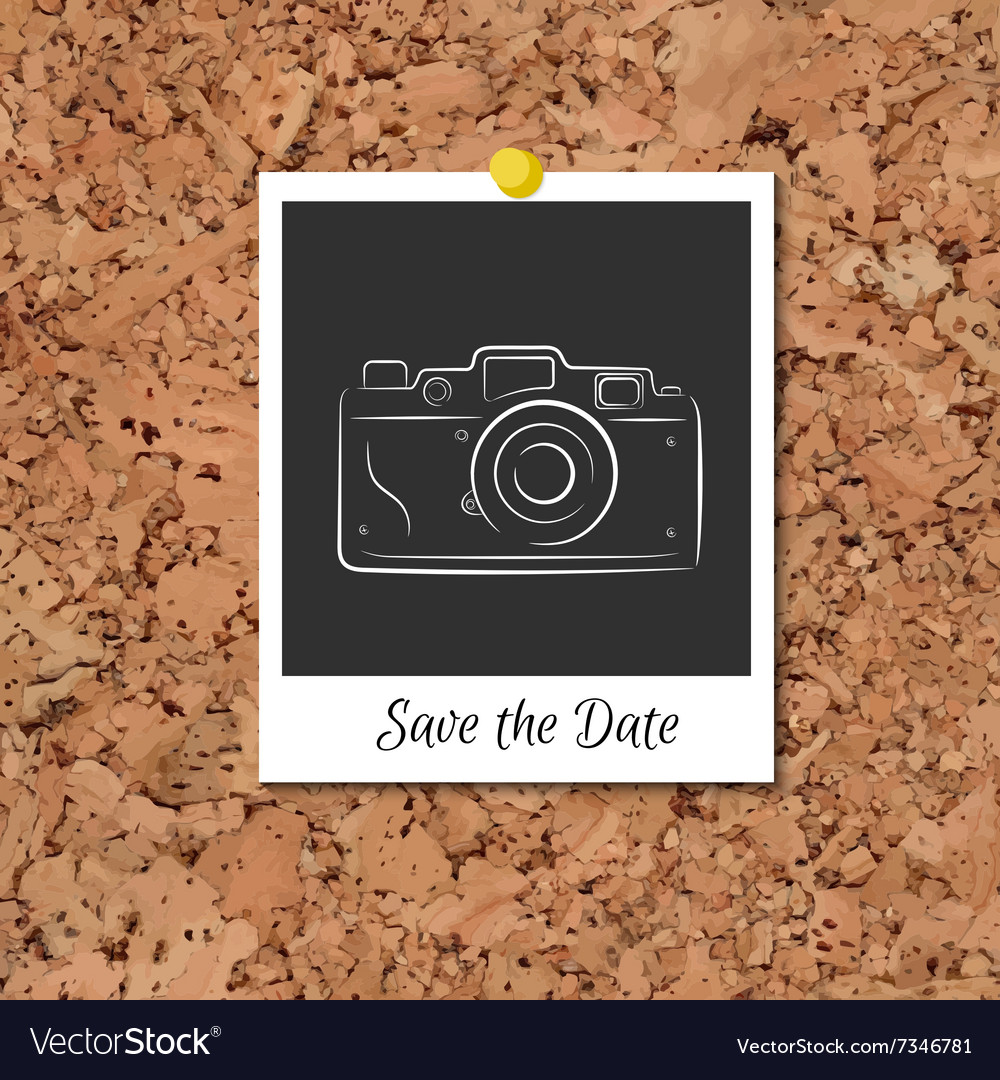 Corkboard with instant photo card vector image