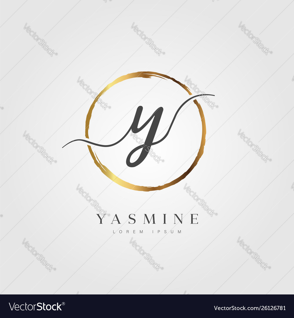 Gold elegant initial letter type y