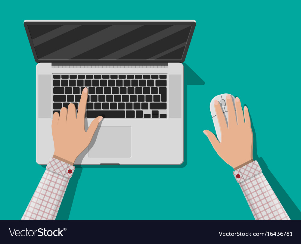 Laptop top view mouse notebook vector image