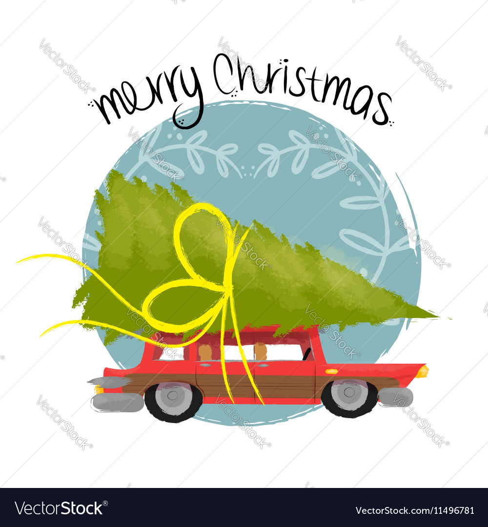 Merry christmas art of retro car with pine tree vector image