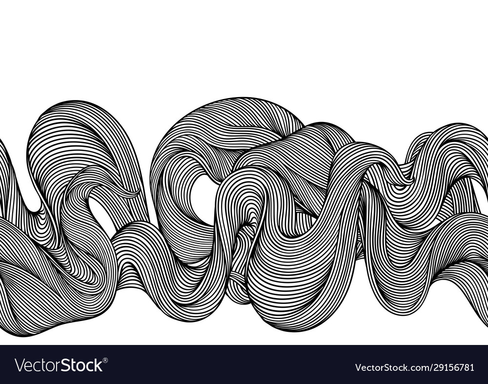 Seamless pattern with wave line curls monochrome