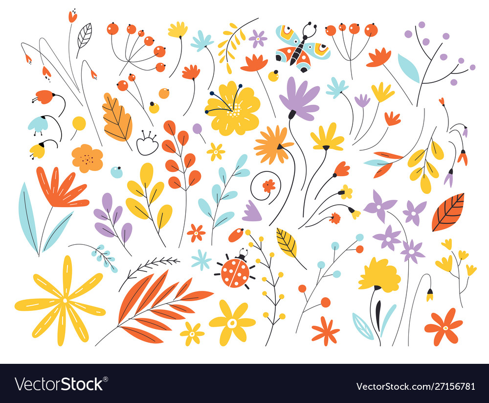 Set flowers and leaves in a flat style isolated
