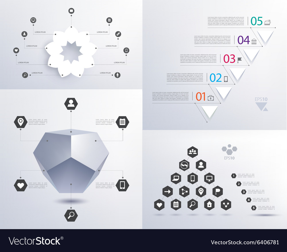Set of infographics 3d shape pyramid