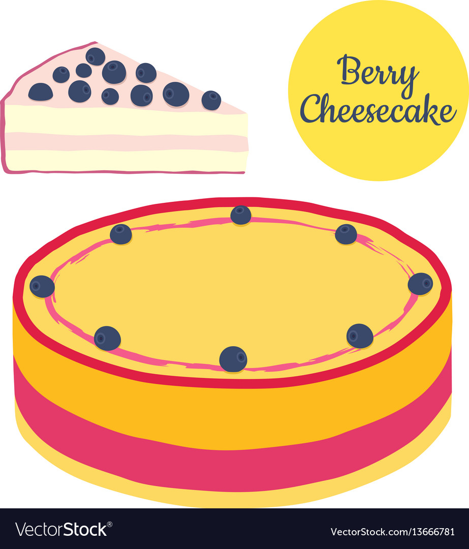 Whole and slice of berry cheesecake in flat style