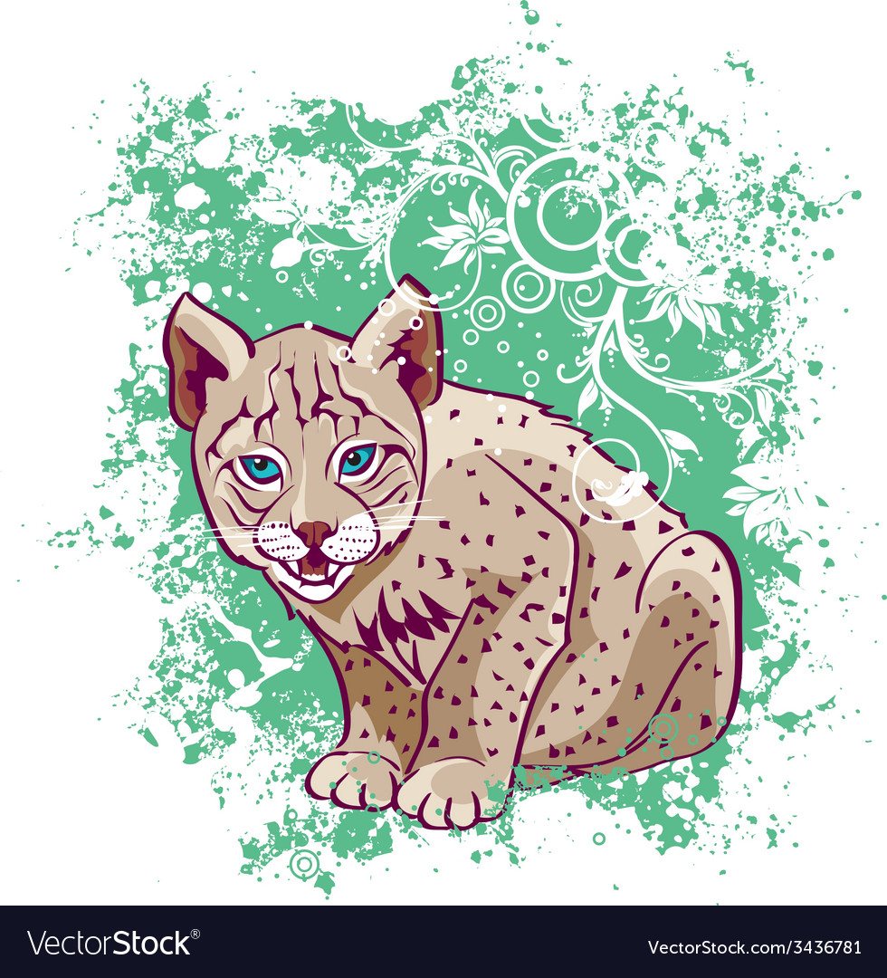 Young lynx on a green background