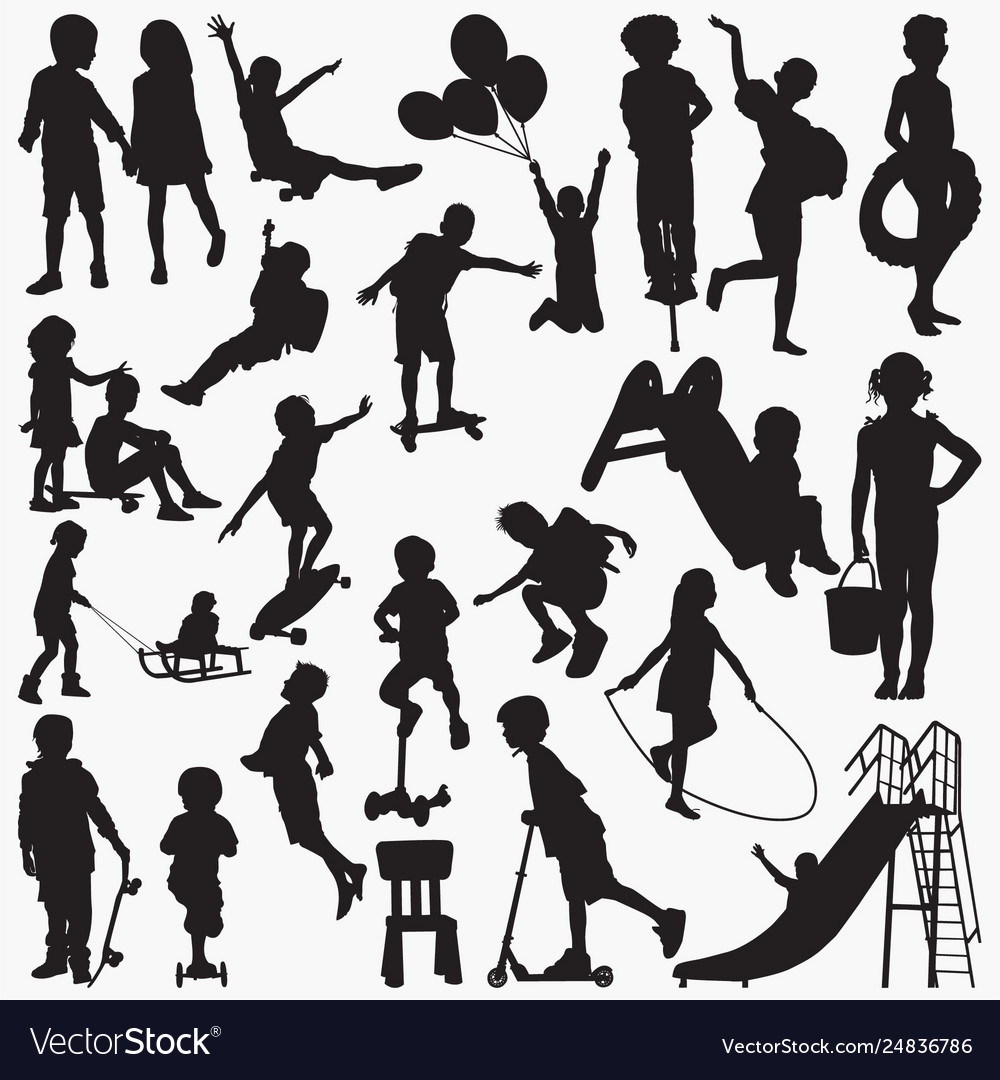 Child siliding silhouettes