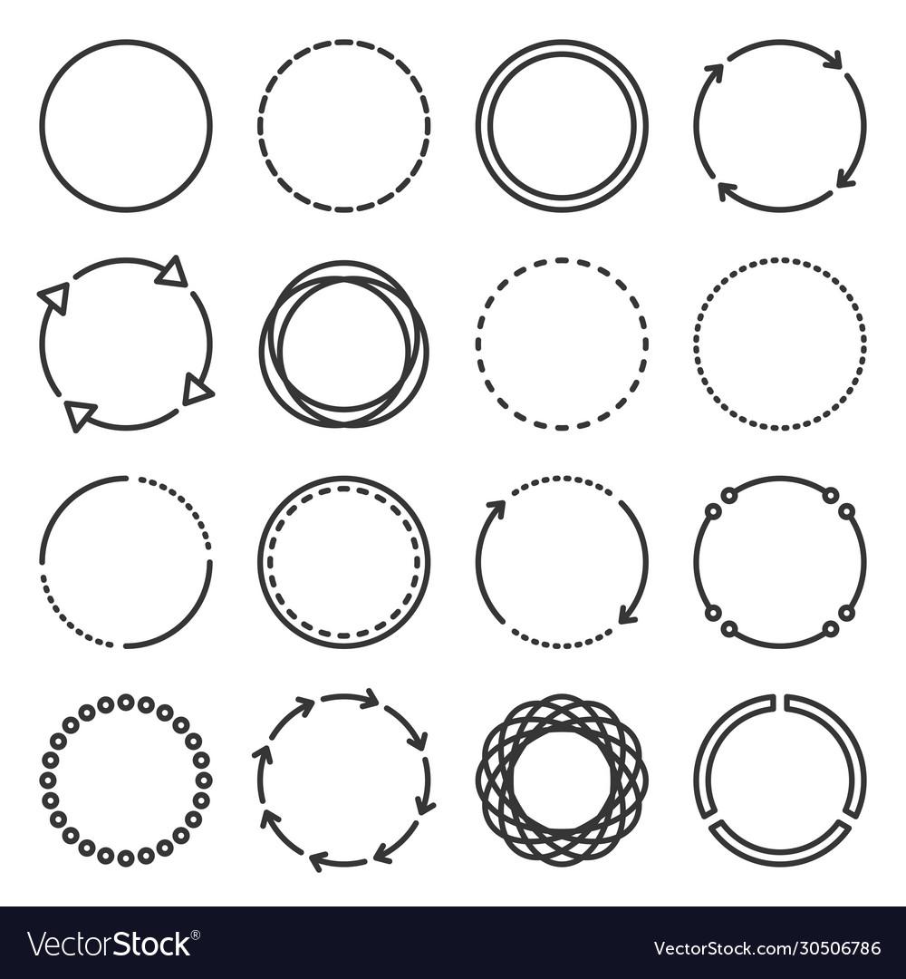 Circle icons set on white background line style