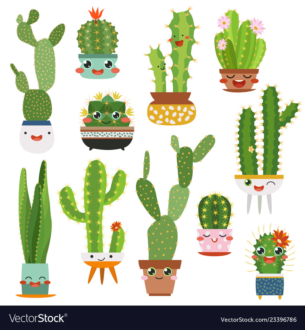 Cute Cactus Pots Happy Face Cartoon Succulent Vector Image