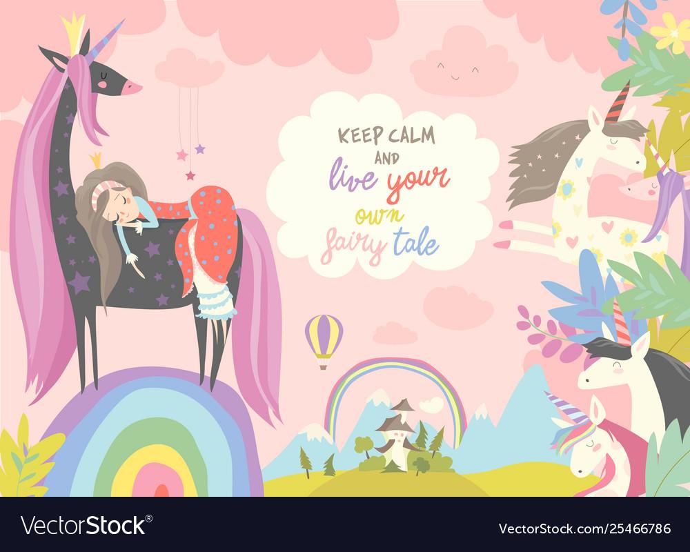 Cute cartoon princess with black unicornsweet