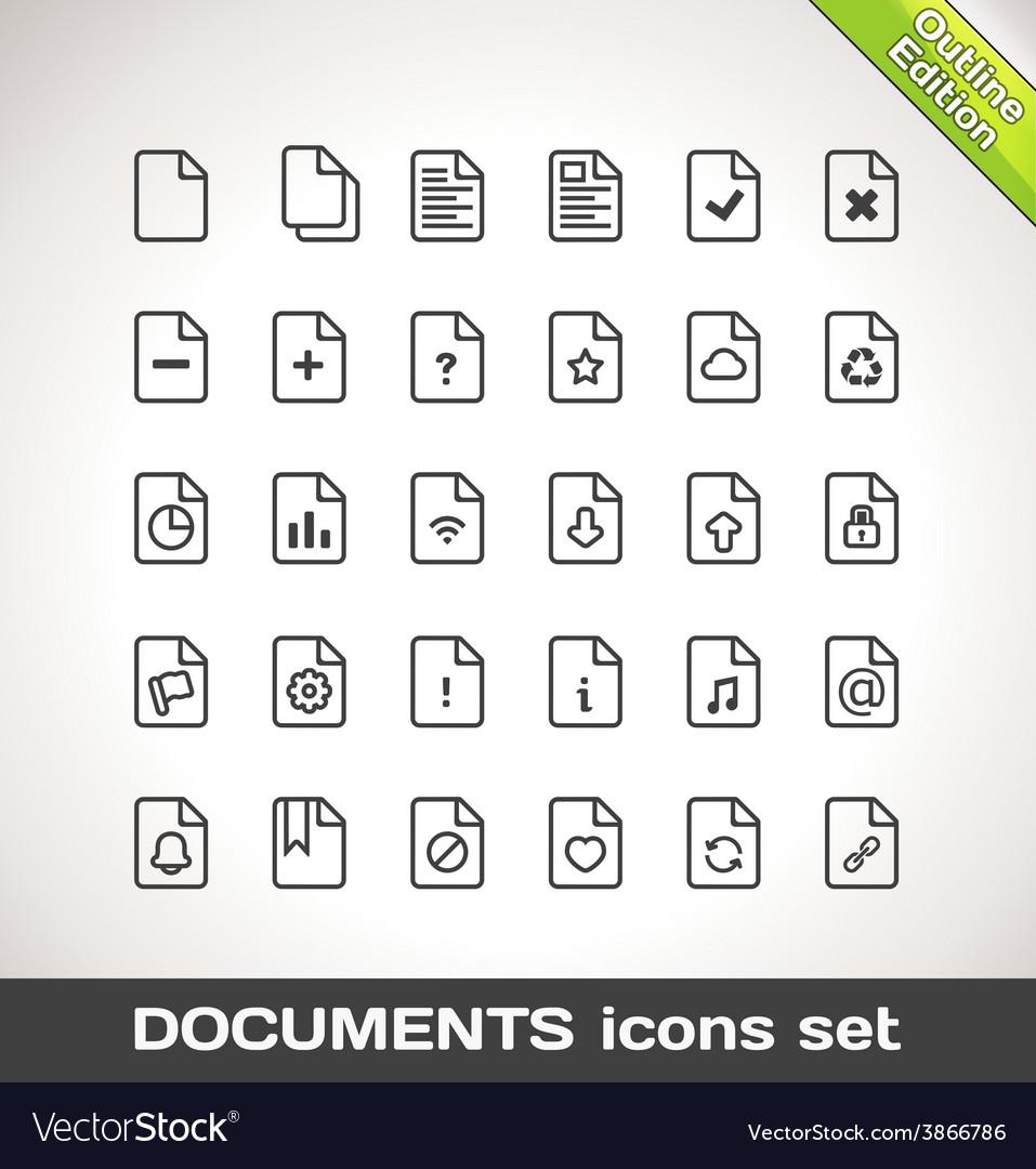 Documents Icon Set Outline