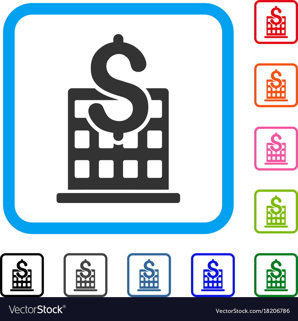 Financial company building framed icon Royalty Free Vector