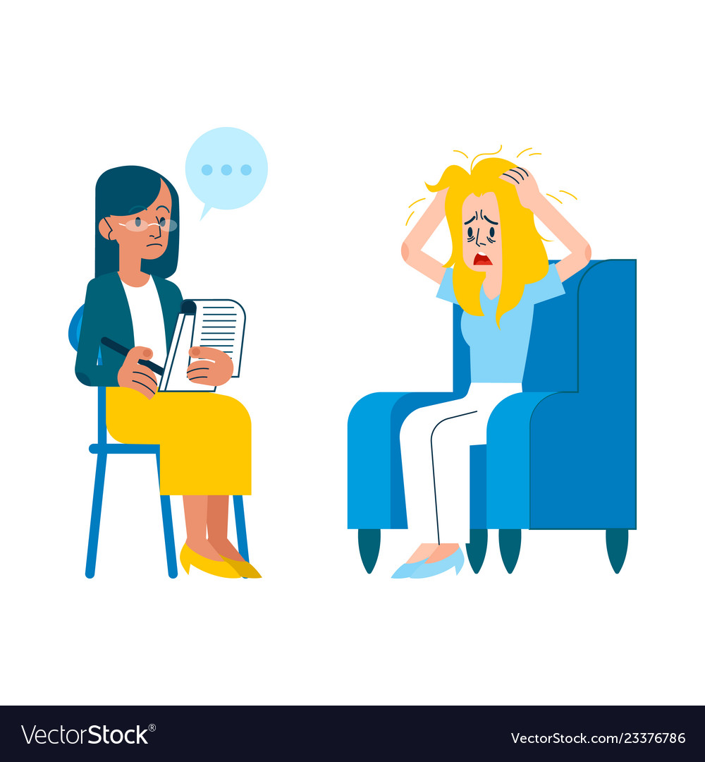 Flat mental therapy session crying woman