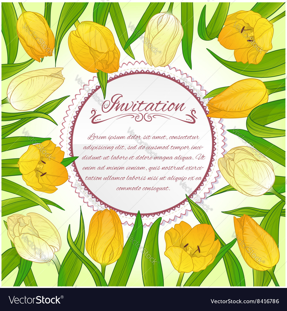 Floral card with tulips on background
