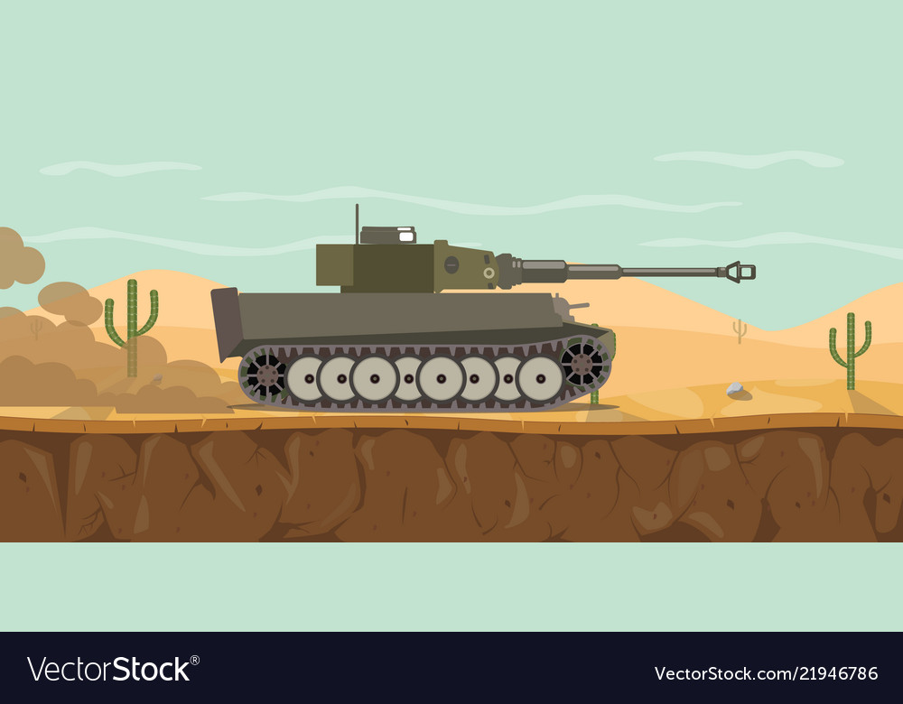 German tiger main battle tank on the desert with