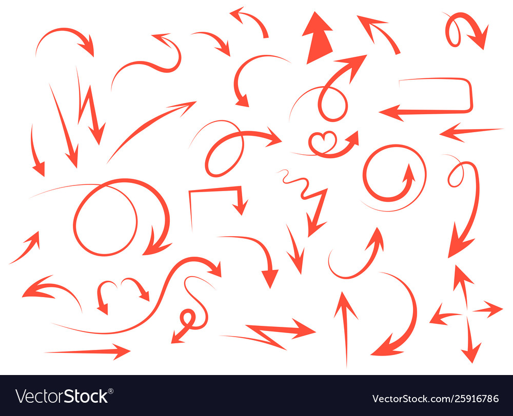 Isolated hand drawn arrows set on a white