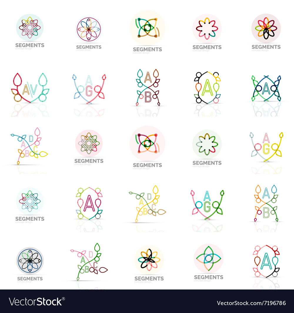 Linear abstract logos letters swirls vector image