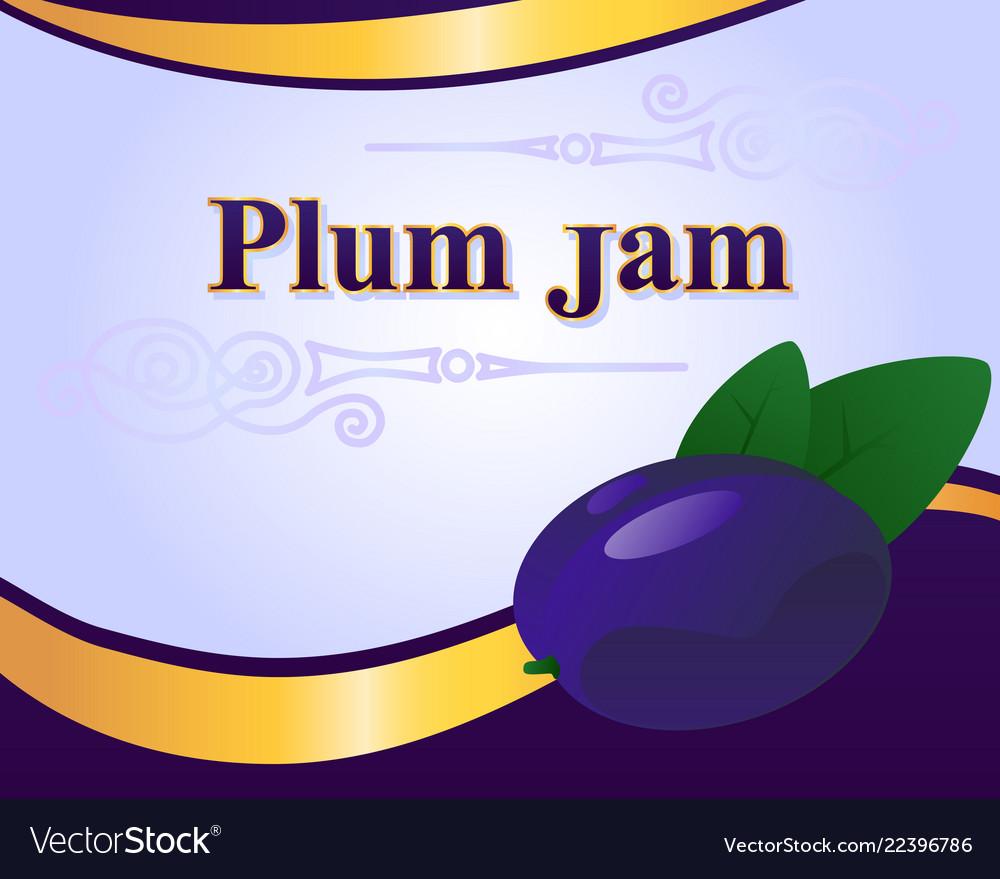 plum jam label design template royalty free vector image