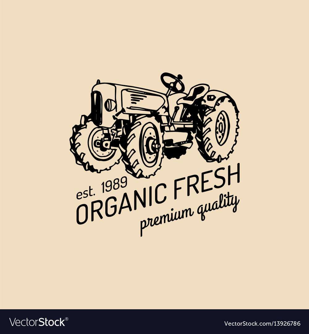Retro farm fresh logotypeorganic premium
