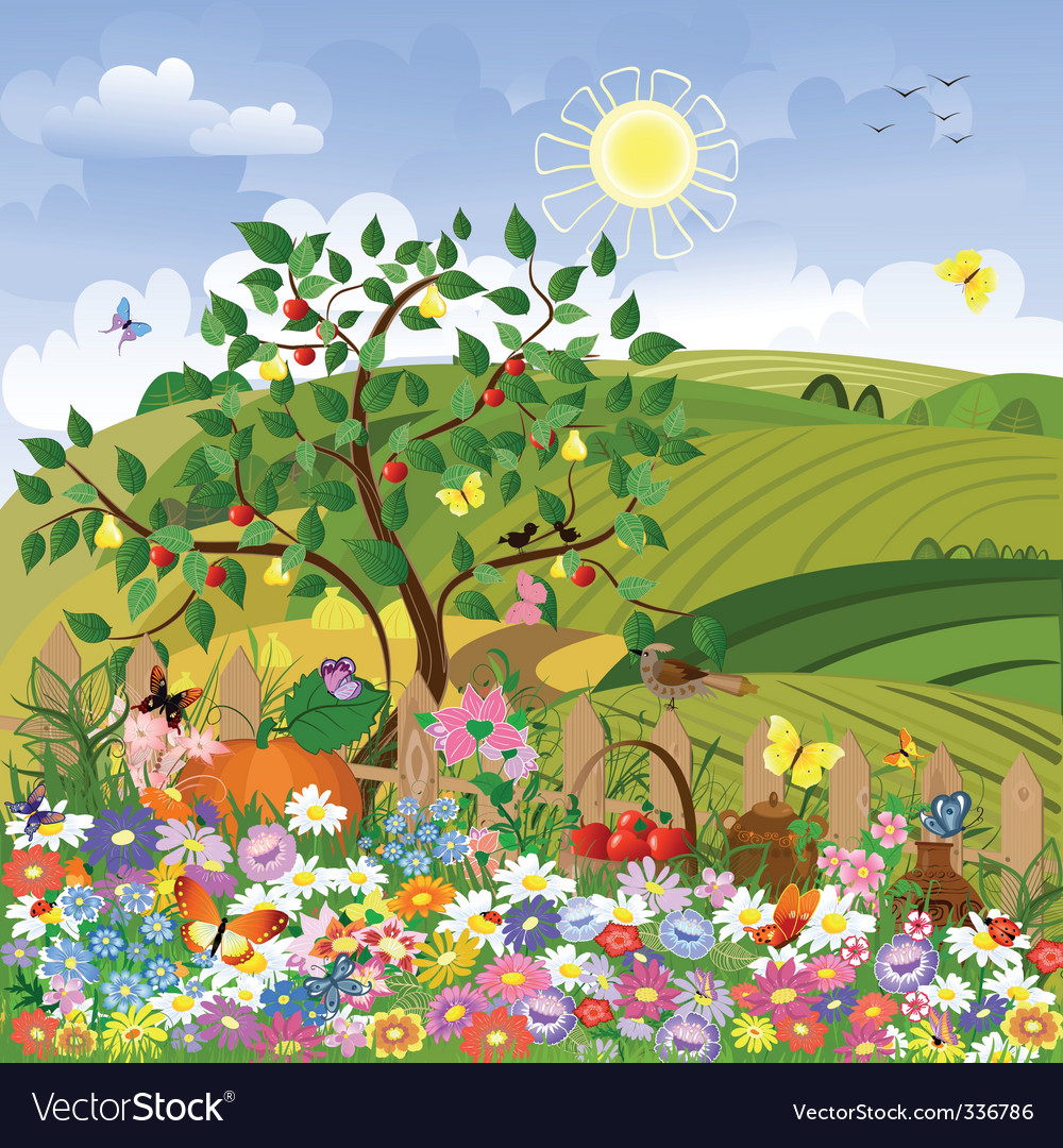 Rural landscape with a fence vector image