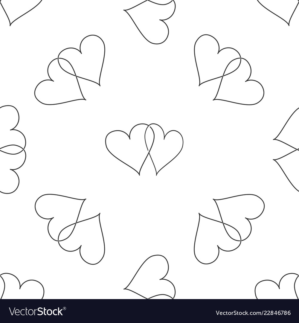 Two linked hearts icon seamless pattern
