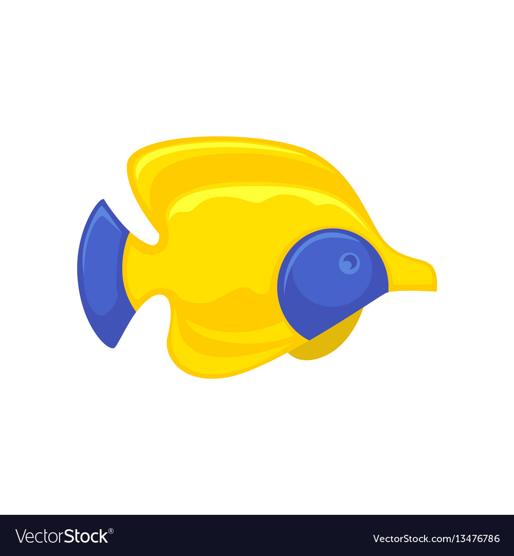 Yellow-blue fish picture in flat design isolated