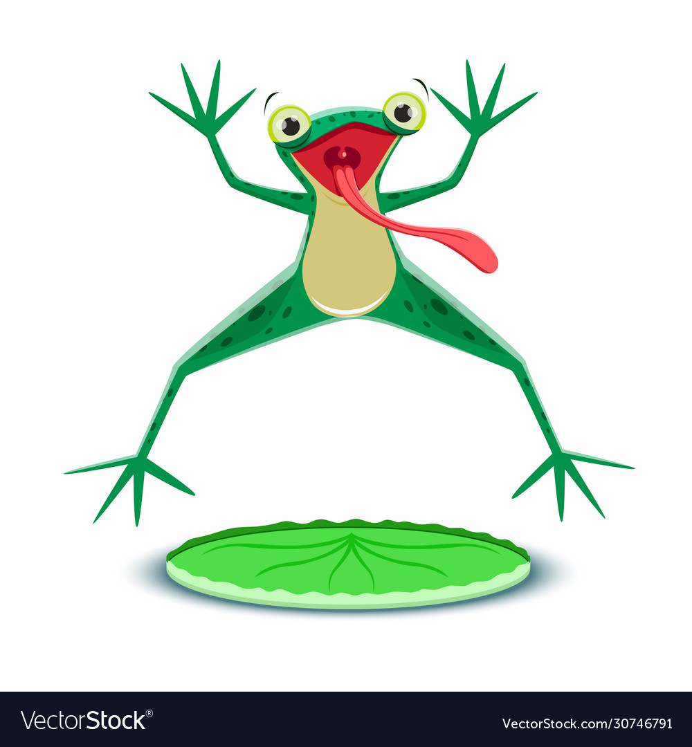 A little frogling is jumping