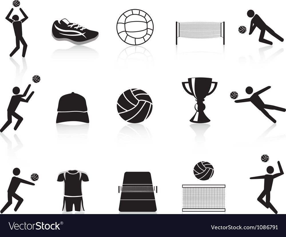 Black volleyball icons set