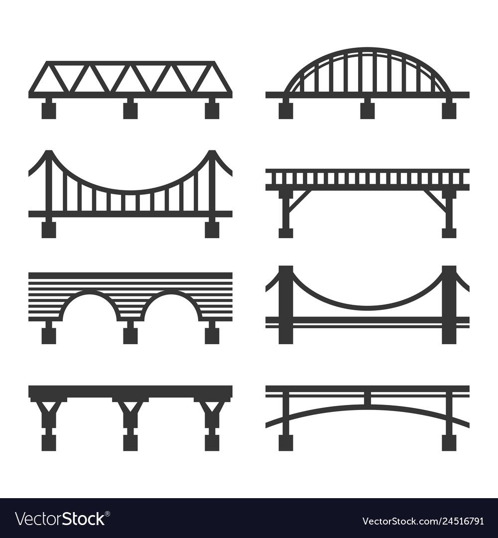Bridge icon set on white background
