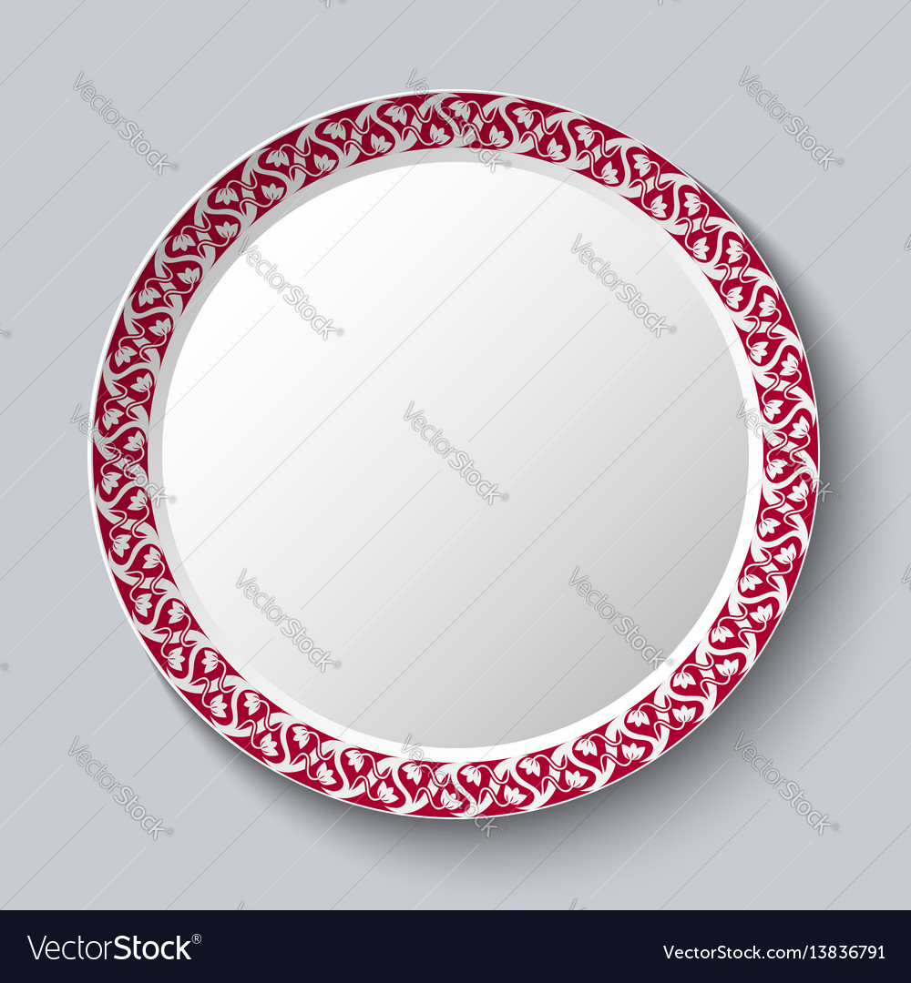 Circular ornament frame applied to a decorative