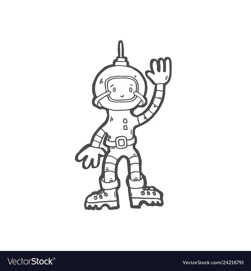Icon of cosmonaut boy in space suit