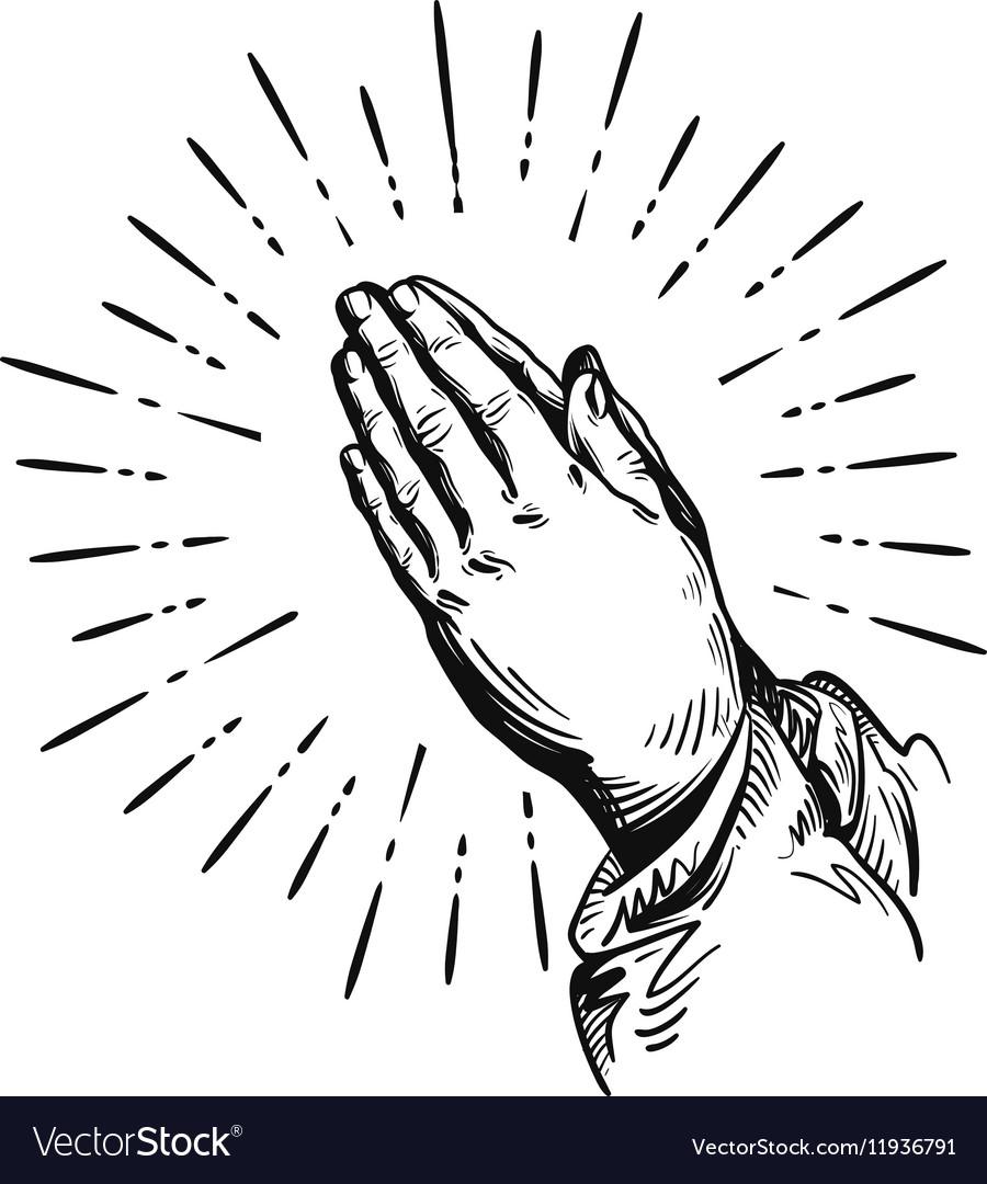 prayer sketch praying hands royalty free vector image rh vectorstock com praying hands vector images praying hands vector clipart