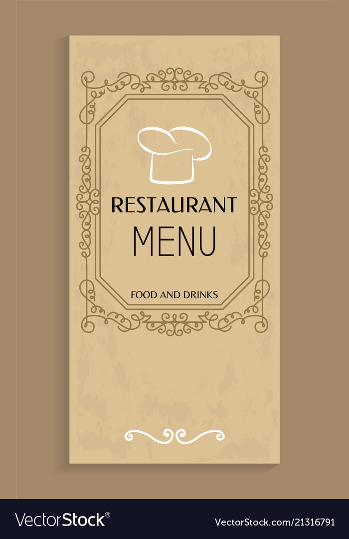 Restaurant menu food and drinks design chef hat