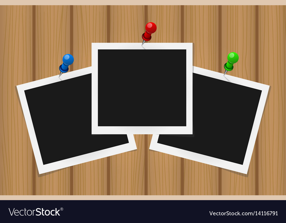 Set of square frames on pins with shadows on vector image