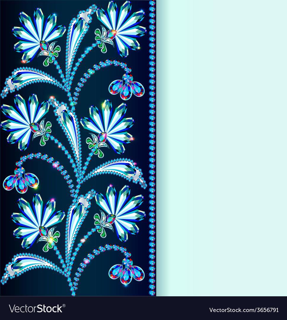 Vintage background with flowers made of precious s