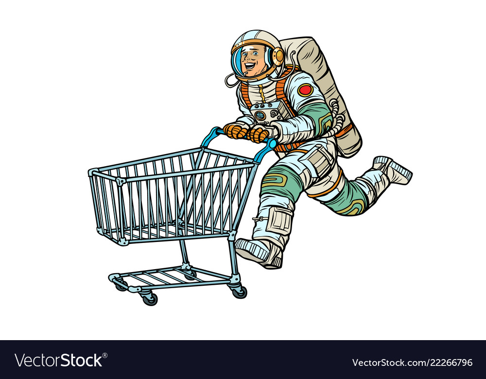 Astronaut in the store with a shopping cart