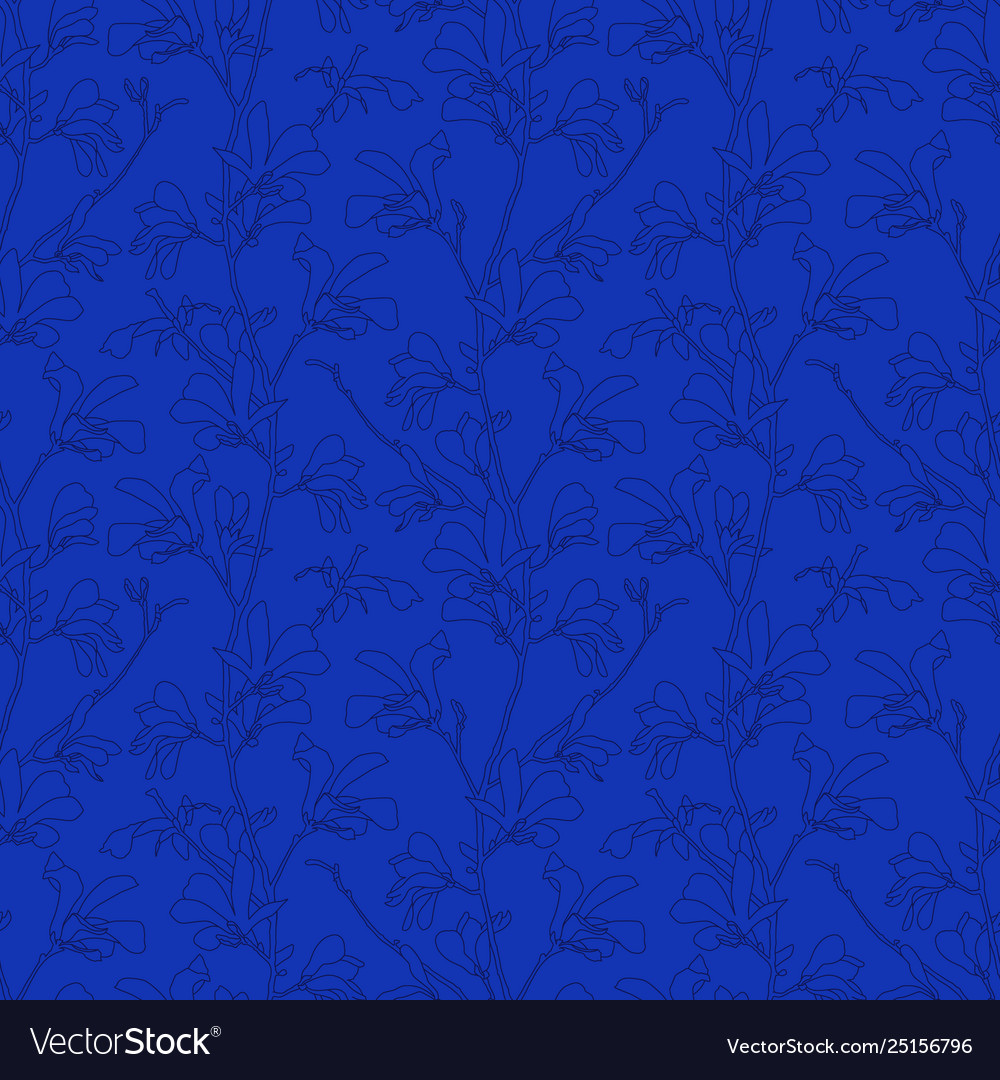 Blue floral background with branch and magnolia